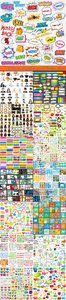 Label business cards banner flat icon speech bubble web elements vector