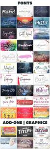 Handwritten Font Collection & 10 Graphics Sets