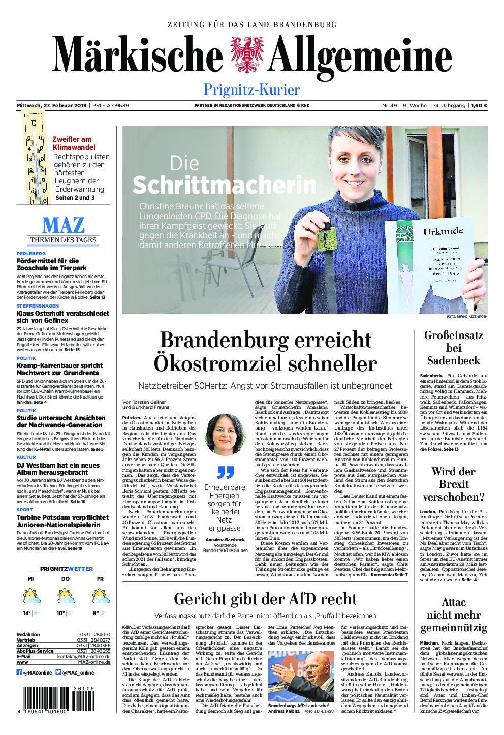 Märkische Allgemeine Prignitz Kurier - 27. Februar 2019