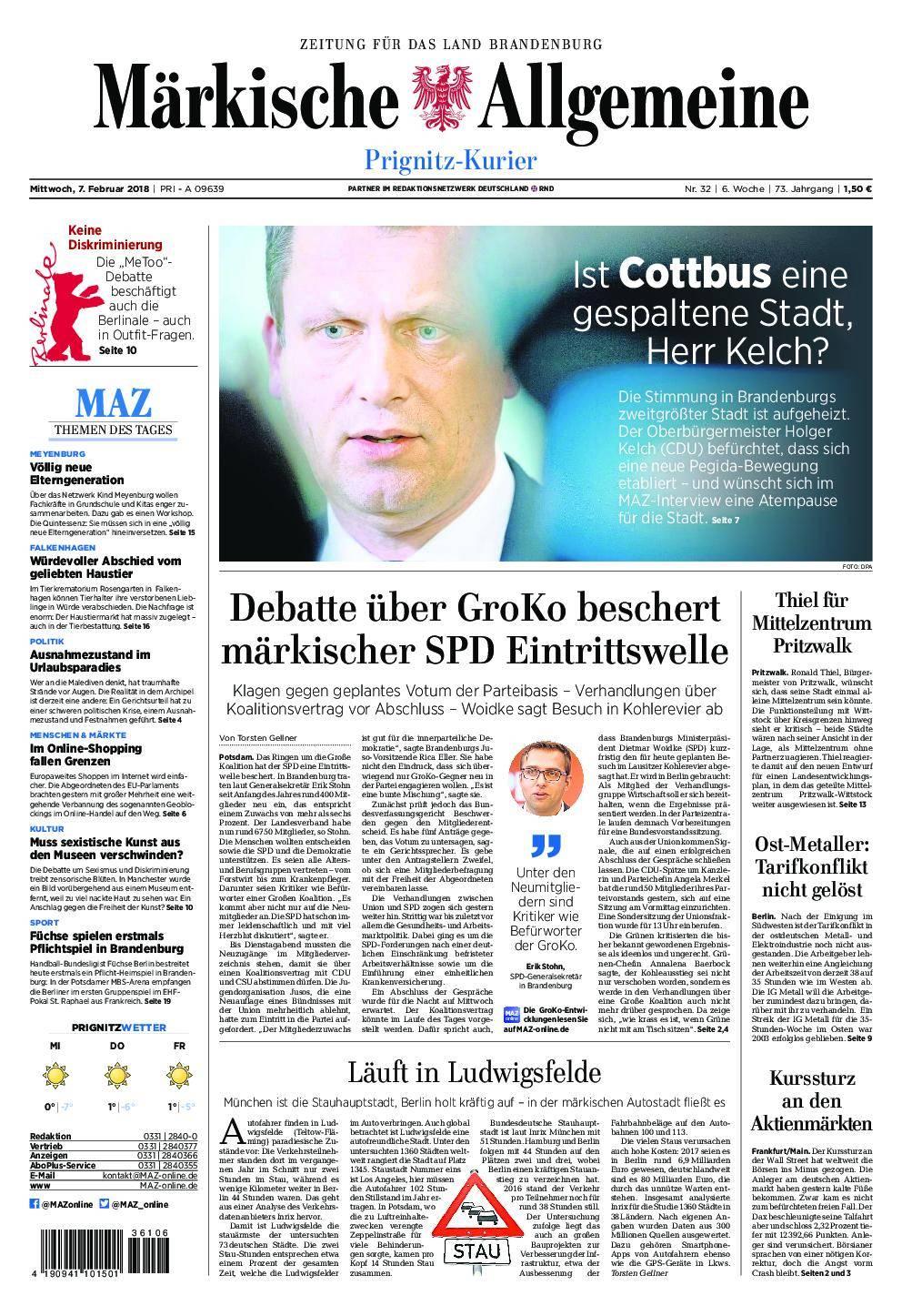 Märkische Allgemeine Prignitz Kurier - 07. Februar 2018