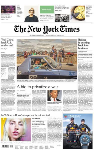 International New York Times - 6-7 October 2018