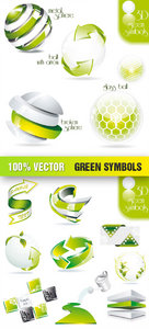 Stock Vector - Green Symbols Icon