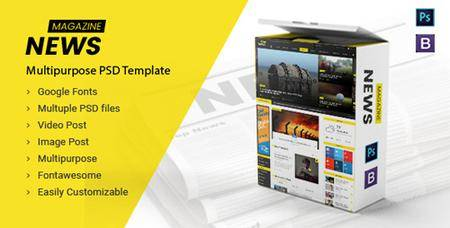 ThemeForest - News Magazine - Multipurpose News Magazine PSD Template (Update: 9 January 17) - 19232843