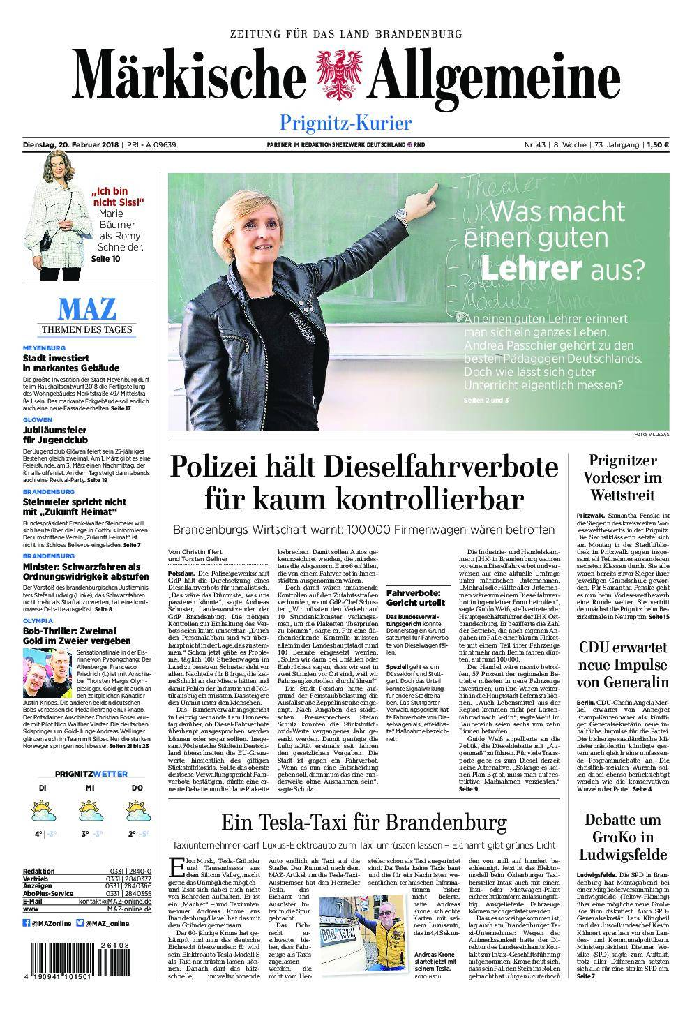 Märkische Allgemeine Prignitz Kurier - 20. Februar 2018