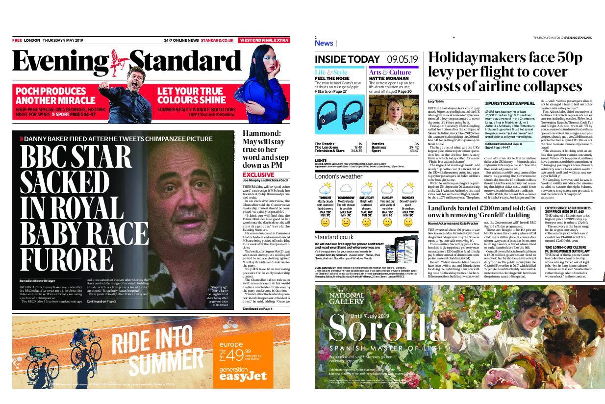 London Evening Standard – May 09, 2019