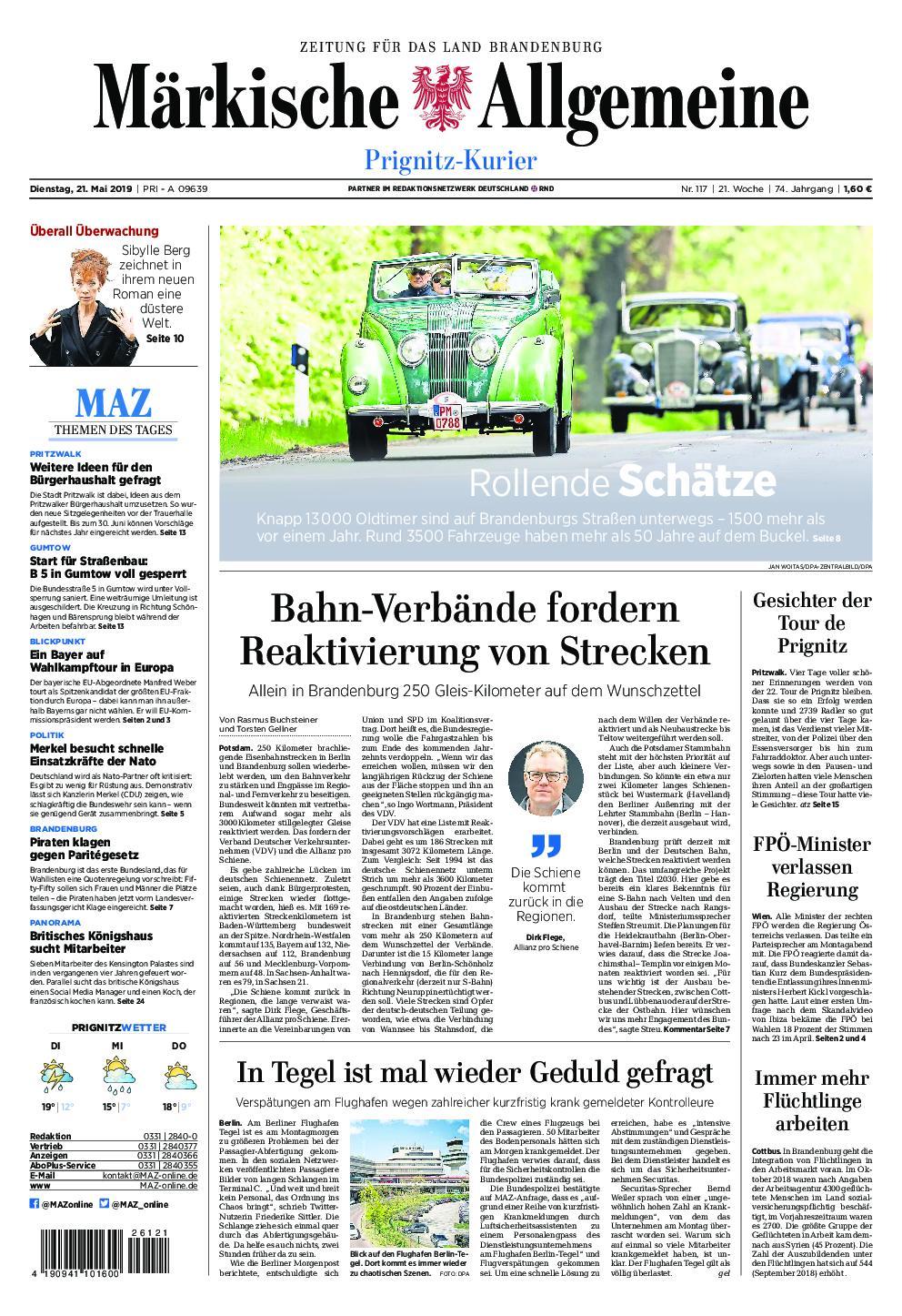 Märkische Allgemeine Prignitz Kurier - 21. Mai 2019