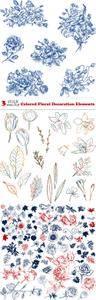 Vectors - Colored Floral Decoration Elements