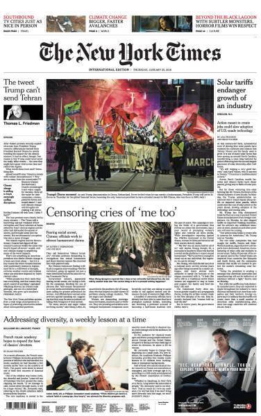 International New York Times - 25 January 2018