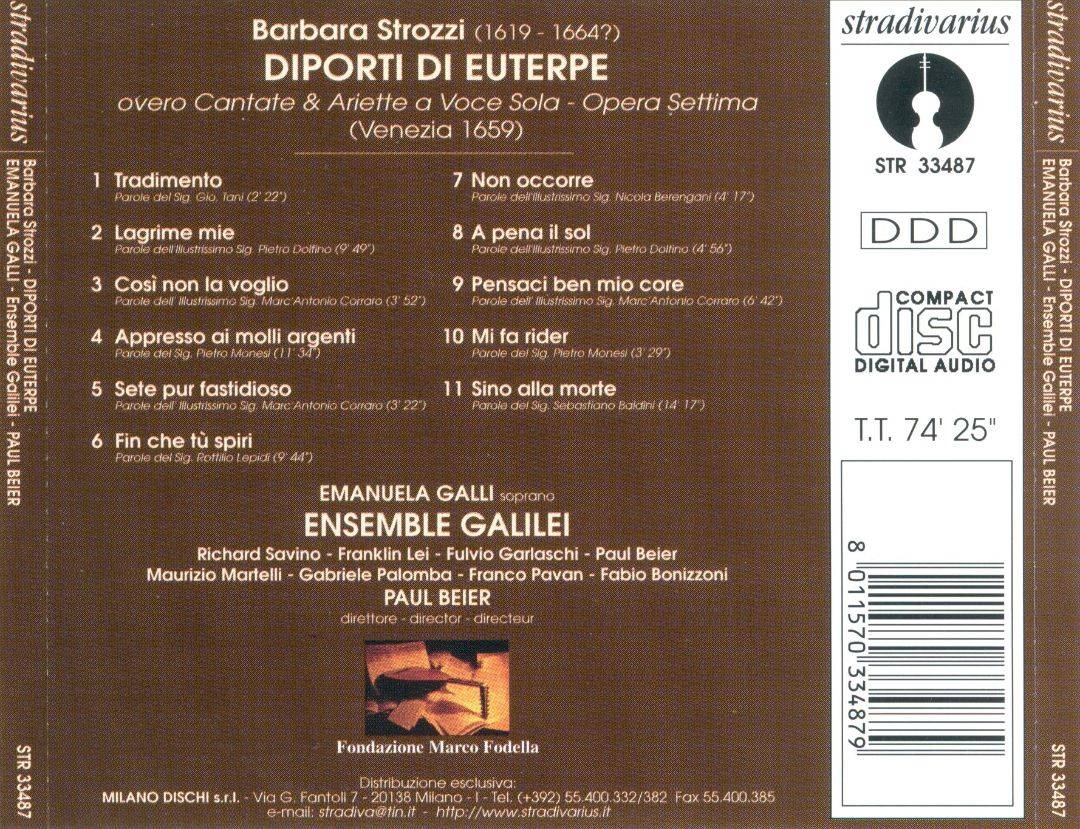 Emanuela Galli, Ensemble Galilei, Paul Beier - Strozzi: Diporti di Euterpe (1999)