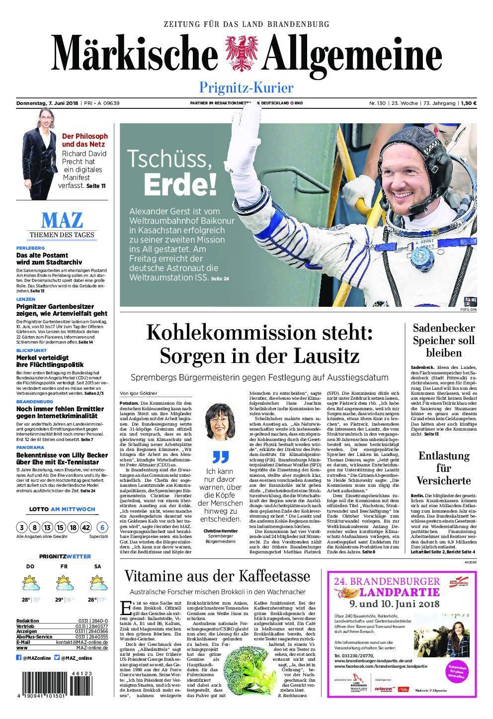 Märkische Allgemeine Prignitz Kurier - 07. Juni 2018