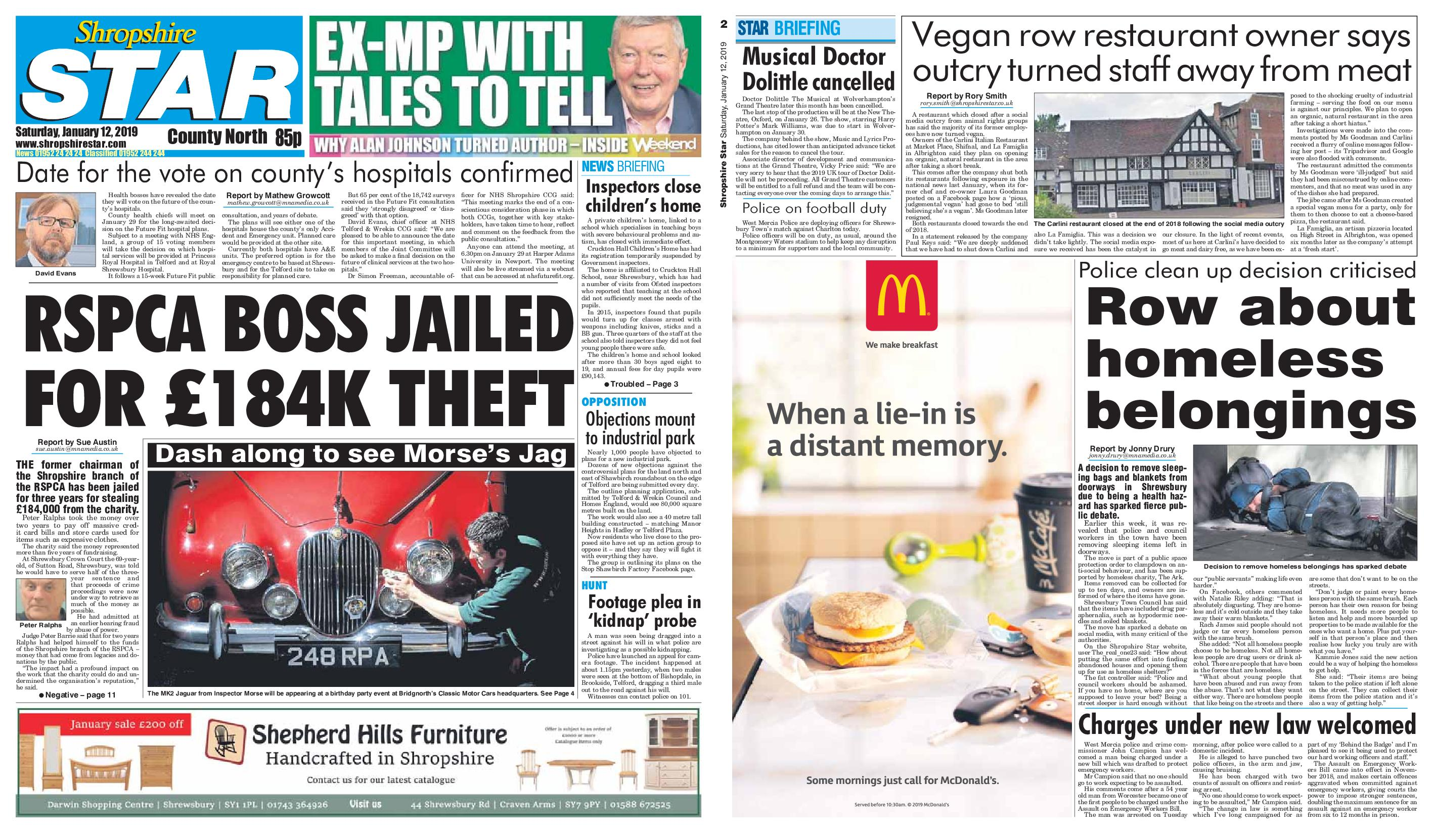 Shropshire Star North County Edition – January 12, 2019