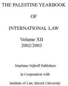 Palestine Yearbook of International Law, 2002/2003
