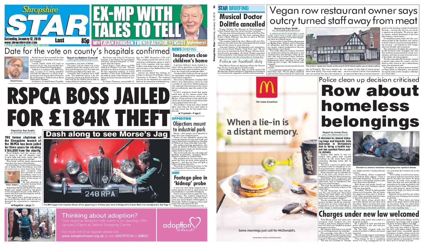 Shropshire Star Last Telford Edition – January 12, 2019