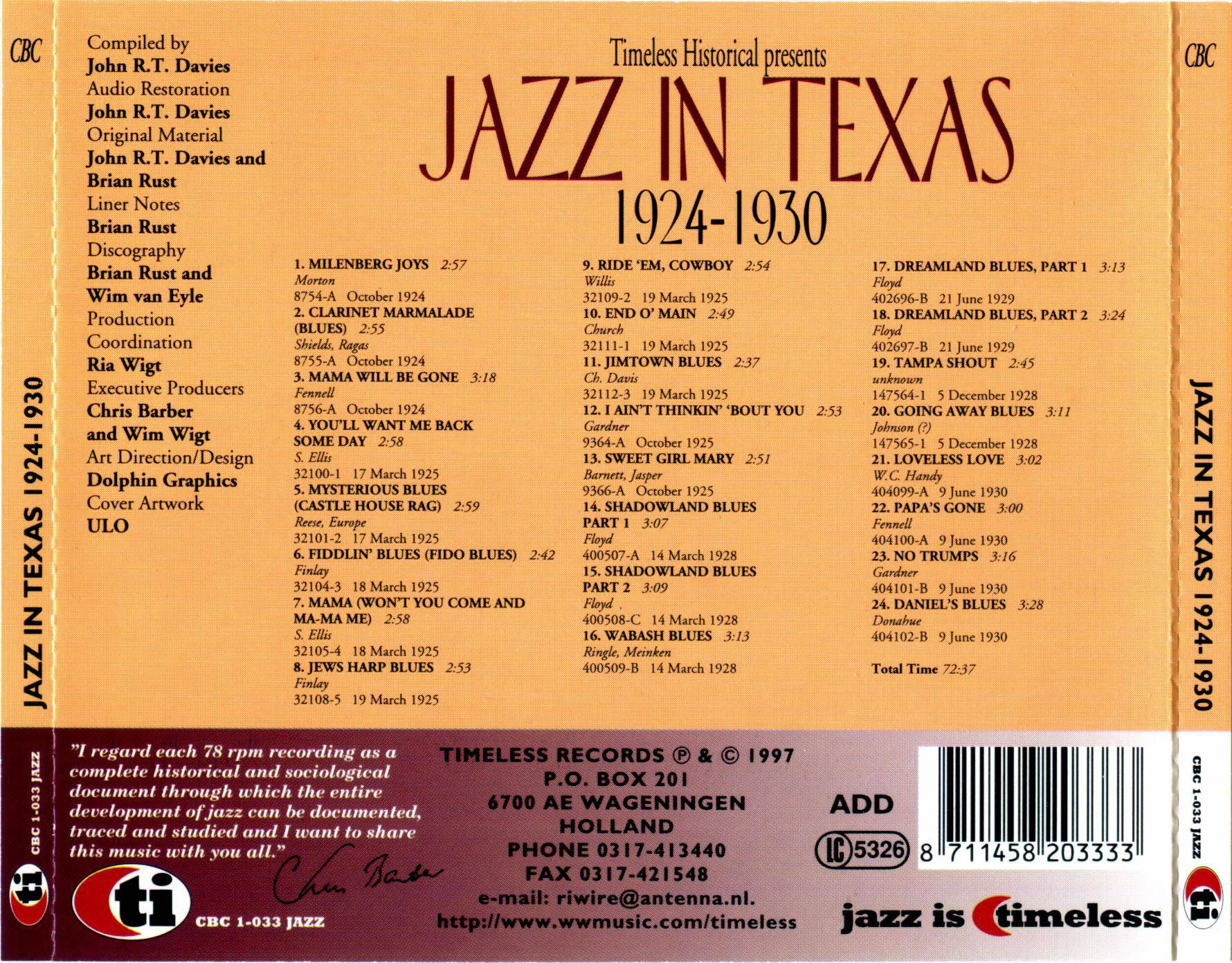 VA - Jazz In Texas 1924-1930 (1997)