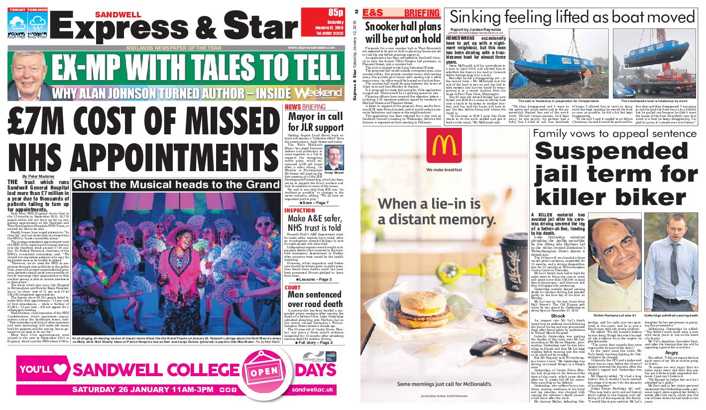 Express and Star Sandwell Edition – January 12, 2019