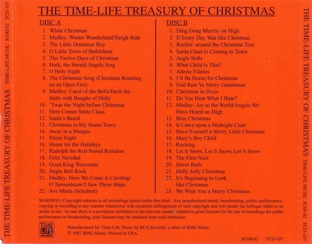Time Life Treasury Of Christmas.Va The Time Life Treasury Of Christmas 2cd 1987 Re