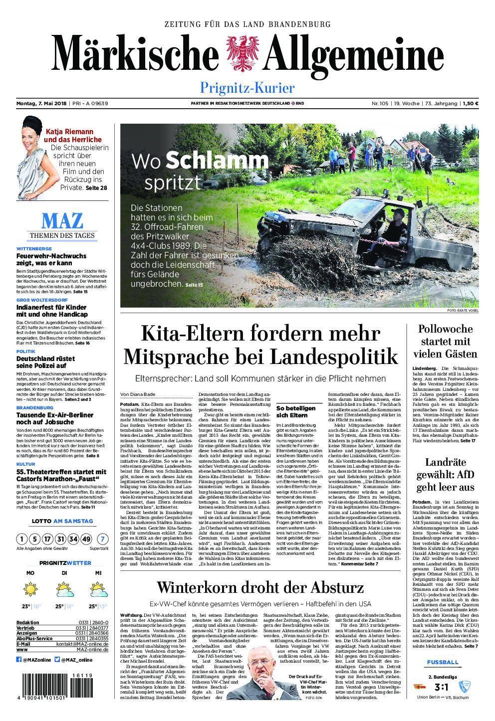 Märkische Allgemeine Prignitz Kurier - 07. Mai 2018