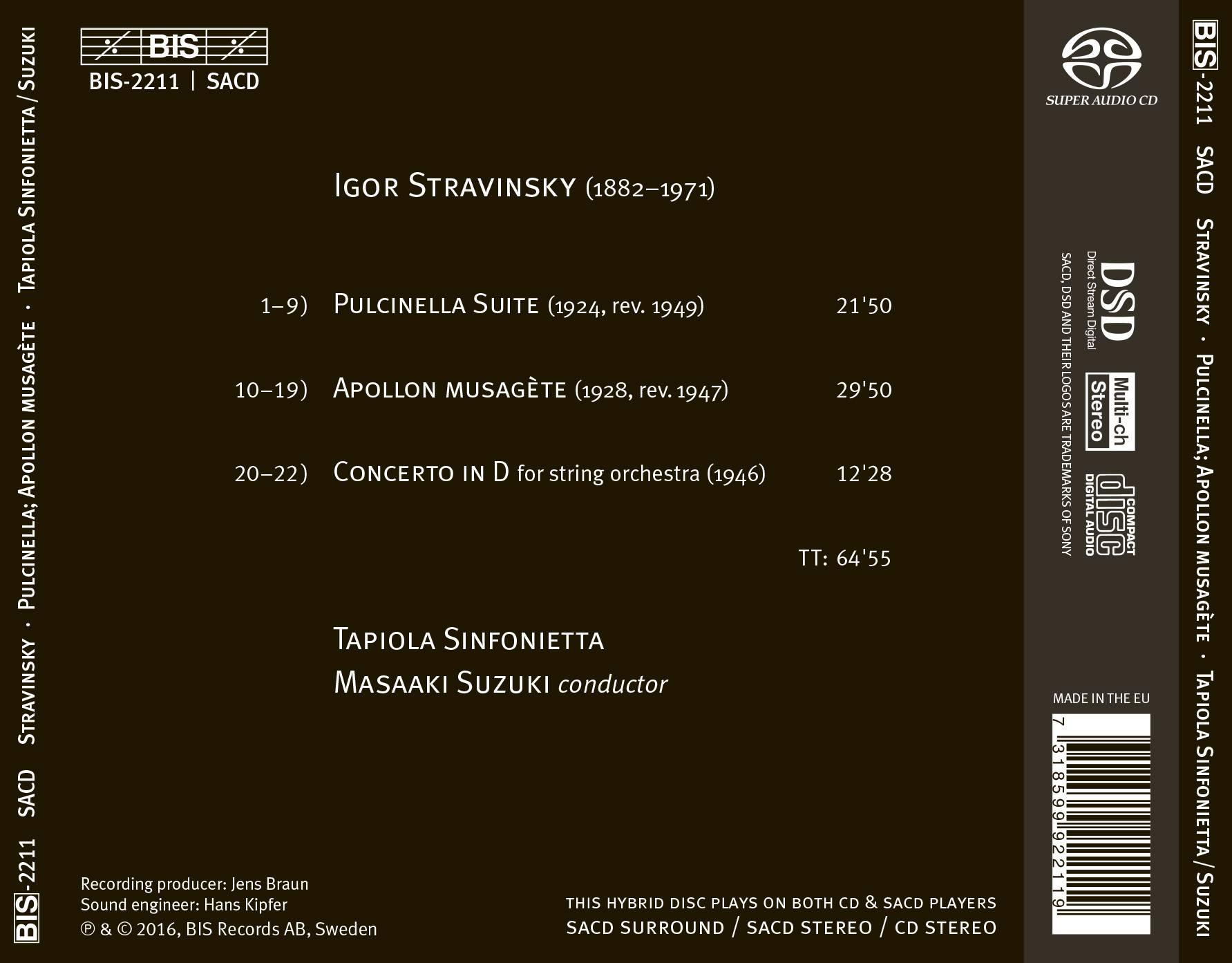 Masaaki Suzuki, Tapiola Sinfonietta - Stravinsky: Pulcinella Suite; Apollon Musagète; Concerto in D for Strings (2016) [Re-Up]