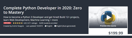 Udemy - Complete Python Developer in 2020: Zero to Mastery (2019)