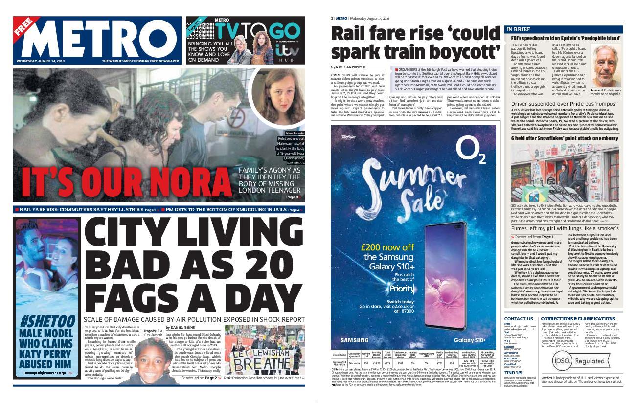 Metro UK – August 14, 2019