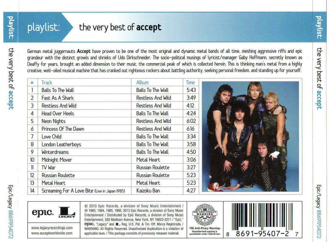 Accept - Playlist: The Very Best Of Accept (2013)