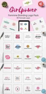 CreativeMarket - GIRLPOWER Feminine Branding Logo Set