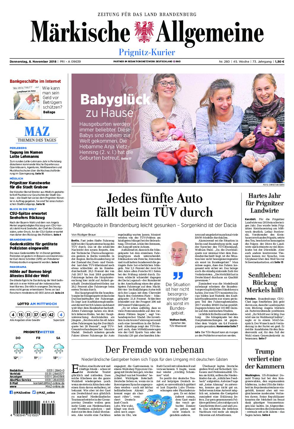 Märkische Allgemeine Prignitz Kurier - 08. November 2018