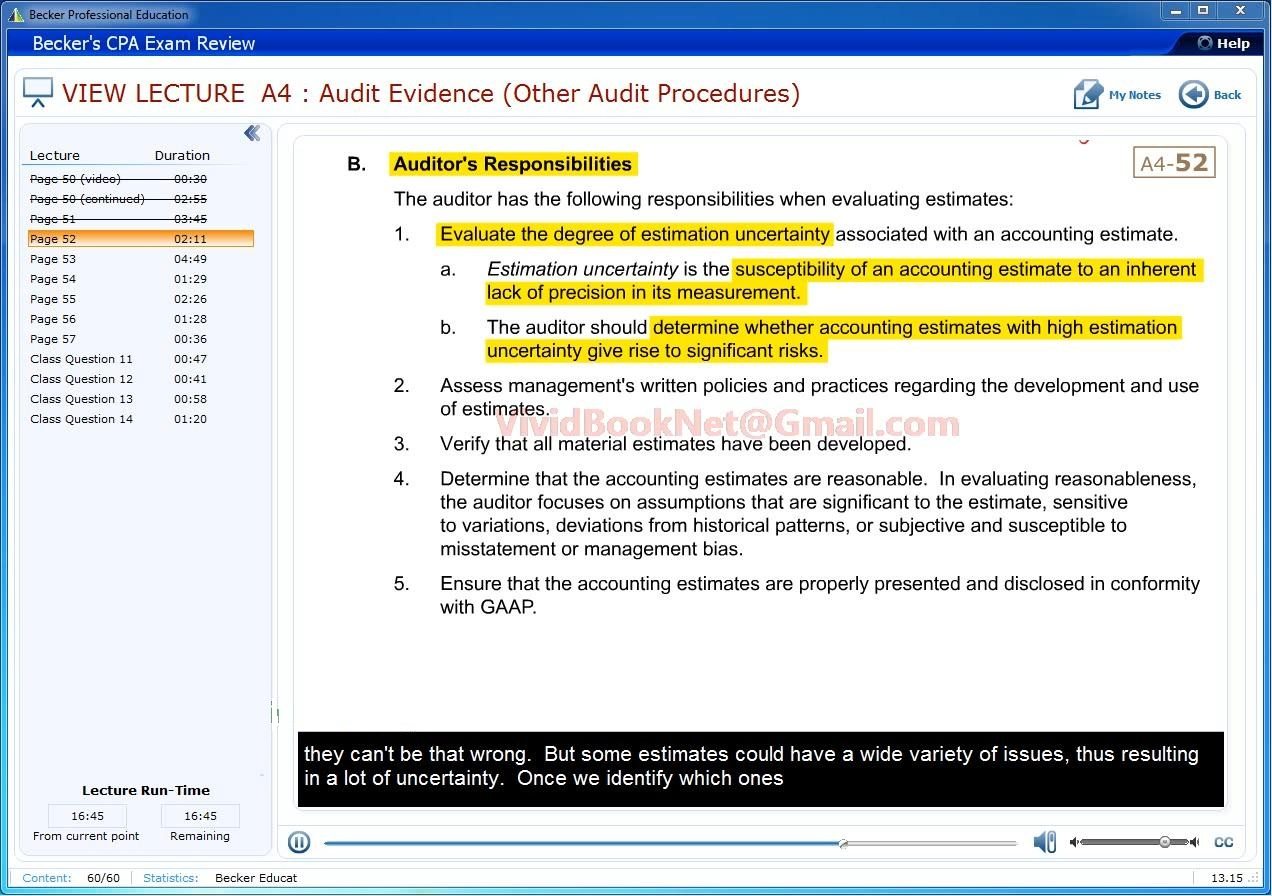 Becker CPA Exam Review 2014 - Auditing and Attestation (AUD)