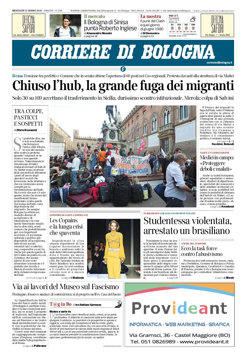 Corriere di Bologna – 12 giugno 2019