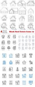 Vectors - Black Real Estate Icons 19