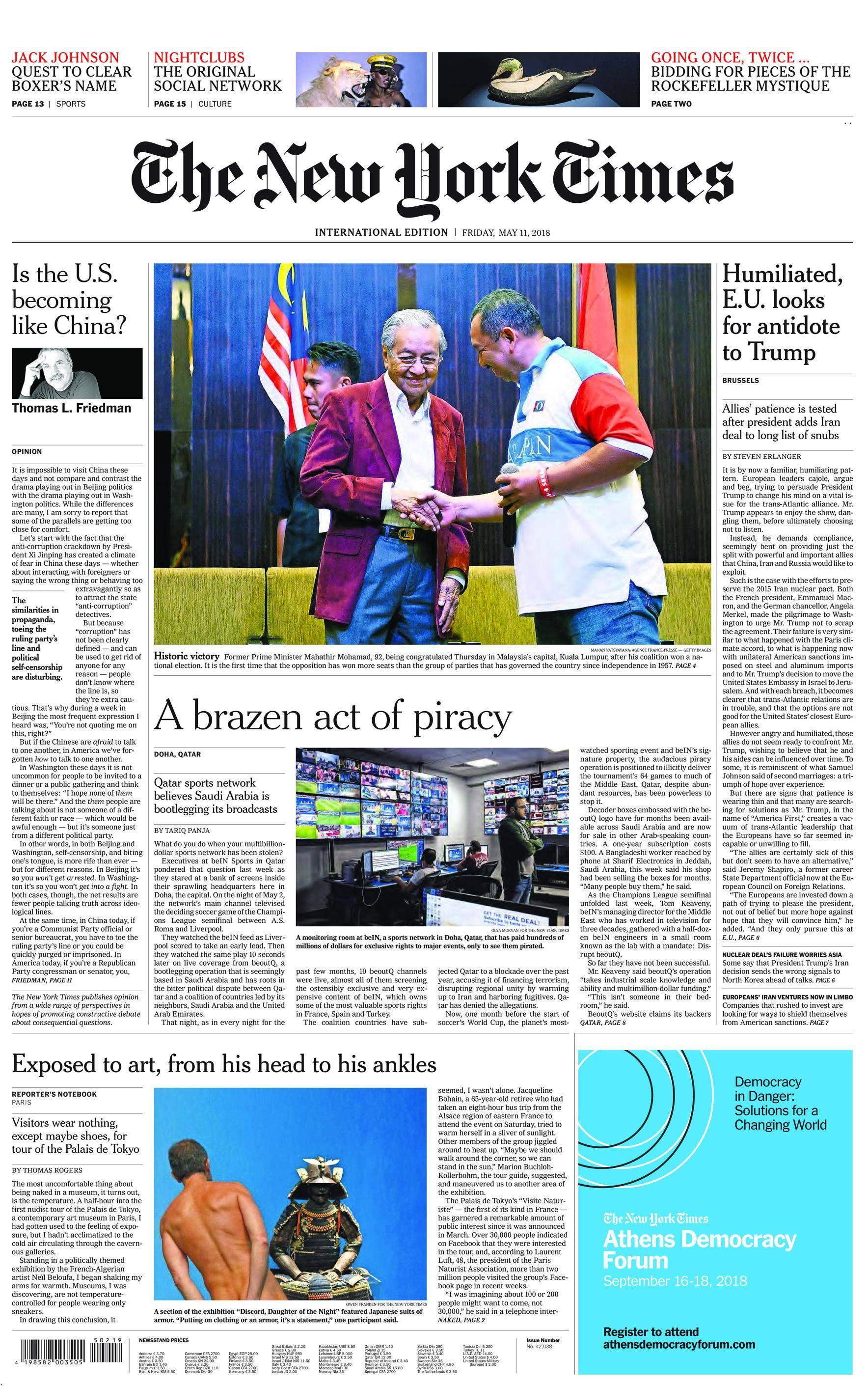 International New York Times - 11 May 2018