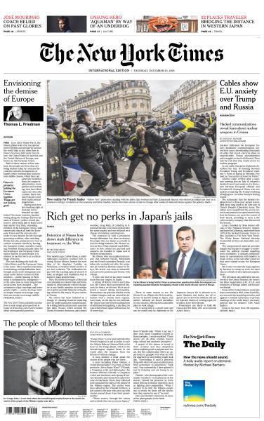 International New York Times - 20 December 2018