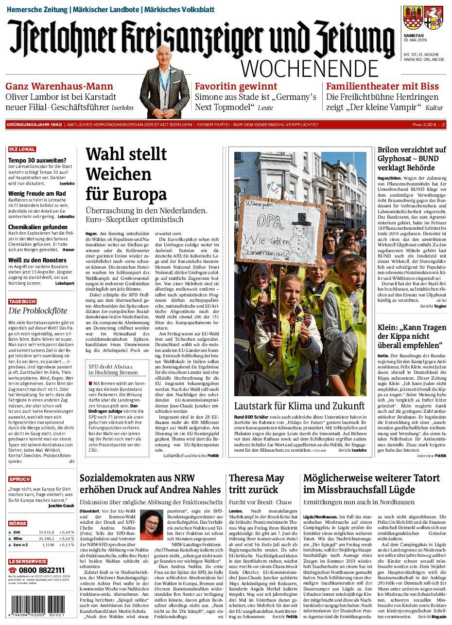 Iserlohner Kreisanzeiger – 25. Mai 2019