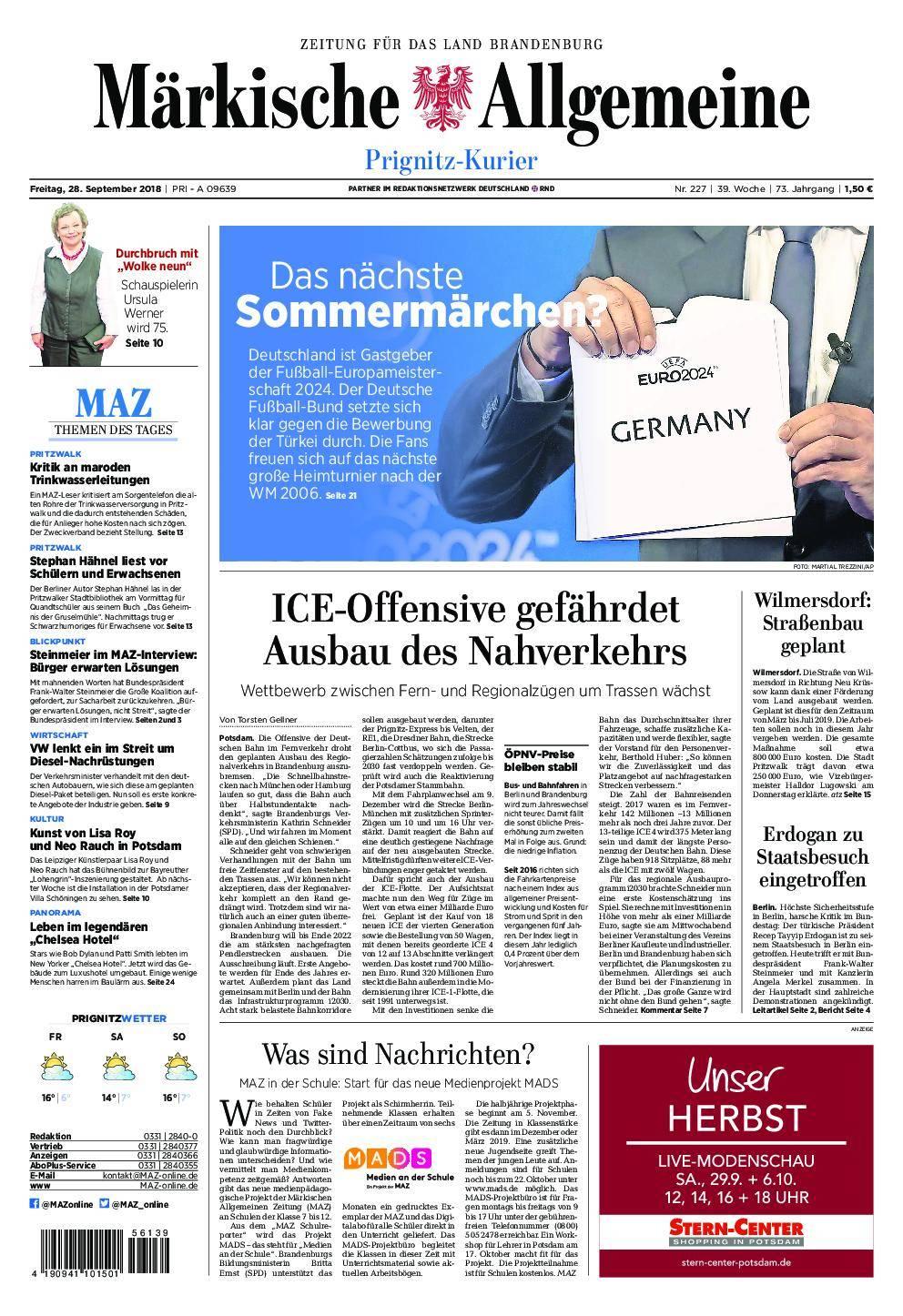 Märkische Allgemeine Prignitz Kurier - 28. September 2018