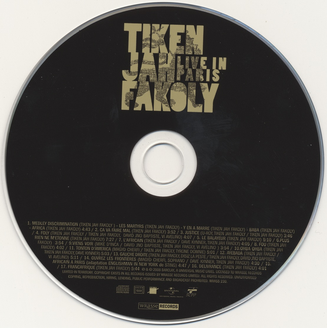 Tiken Jah Fakoly - Live In Paris (2008) {Wrasse Records WRASS230}