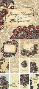 Grunge Floral Backgrounds Vector