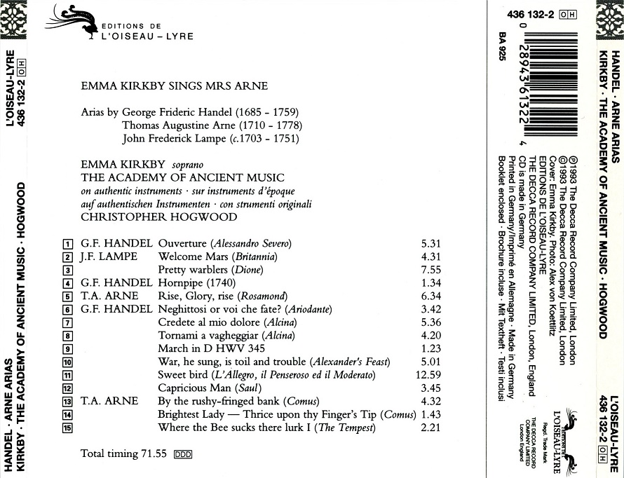 Emma Kirkby, Christopher Hogwood, Academy of Ancient Music - Handel, Arne, Lampe: Arias (1993)