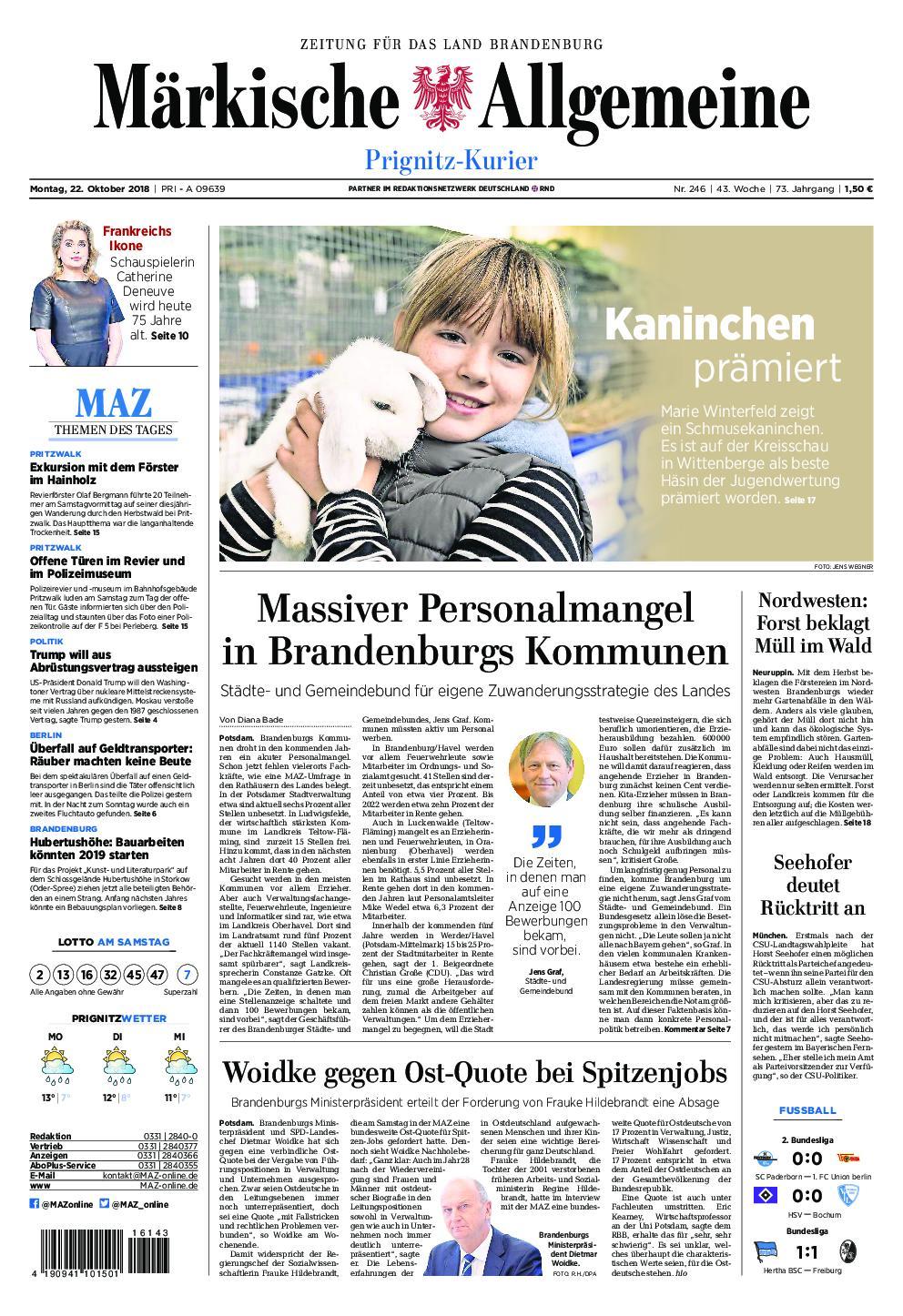 Märkische Allgemeine Prignitz Kurier - 22. Oktober 2018