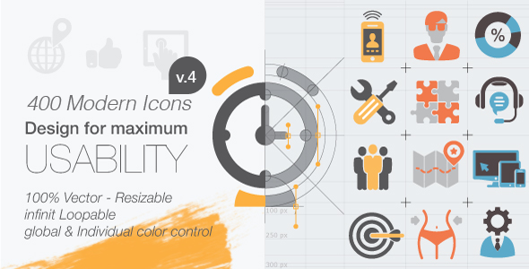 400 Animated Icons V4 - Project for After Effects (VideoHive)