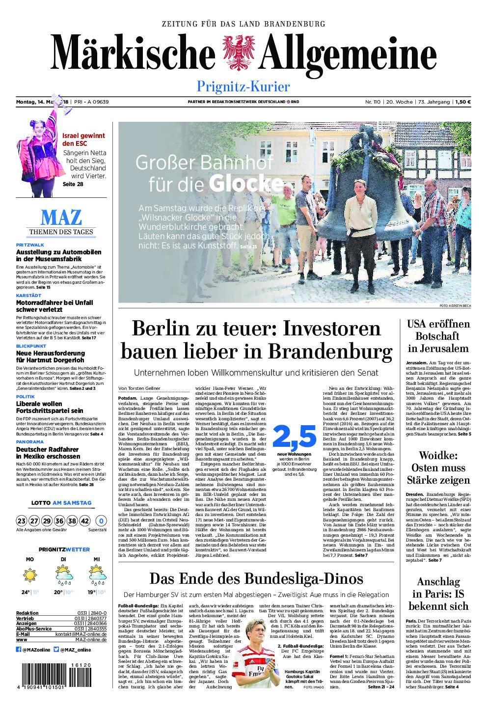 Märkische Allgemeine Prignitz Kurier - 14. Mai 2018