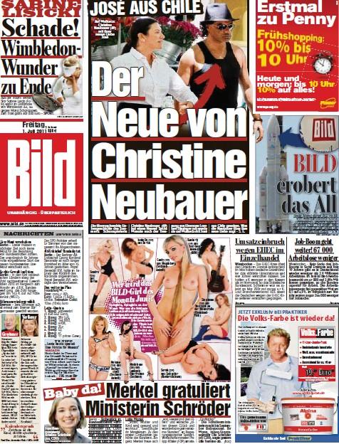 Bild Zeitung vom 01 Juli 2011