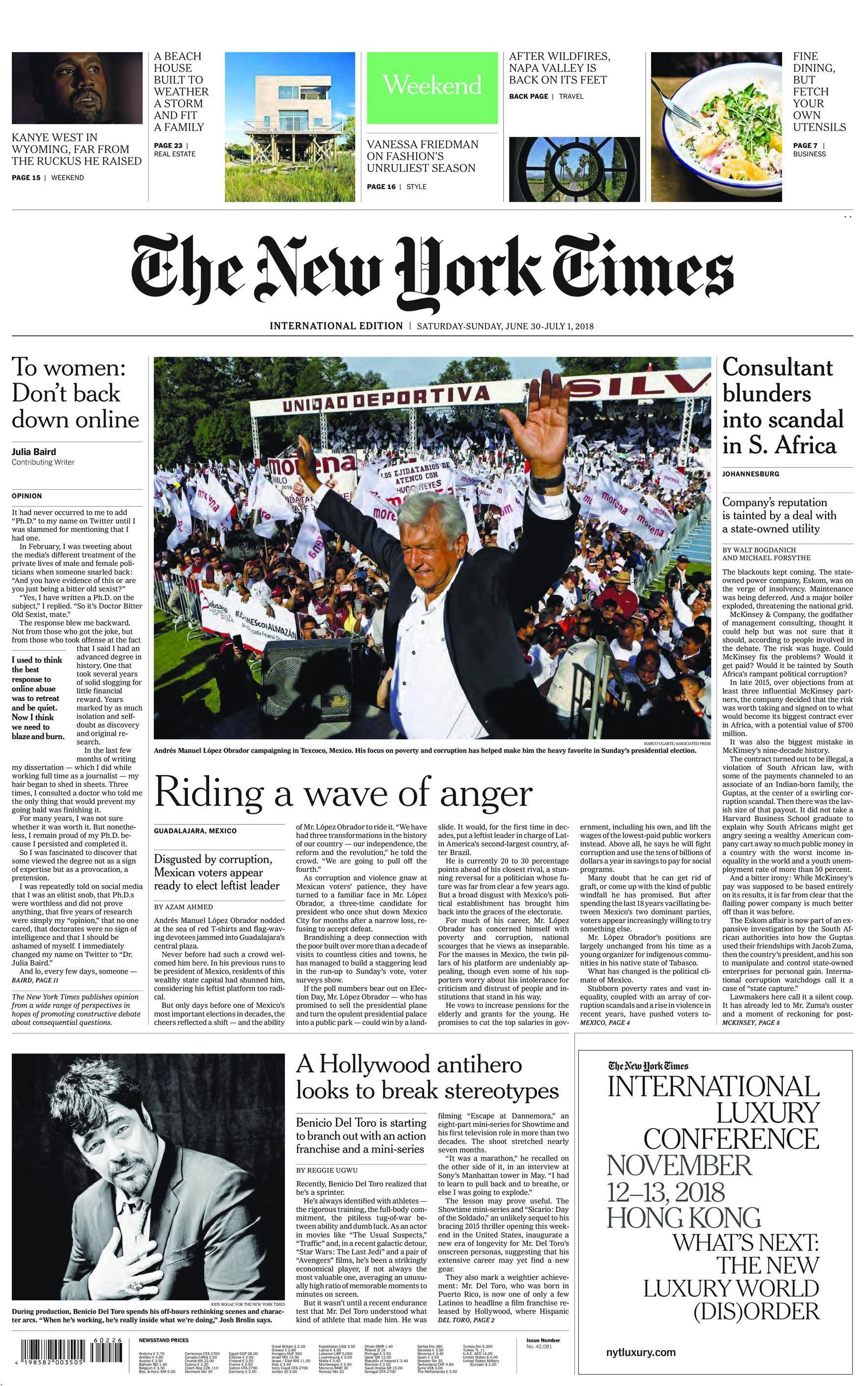 International New York Times - 30 June 2018