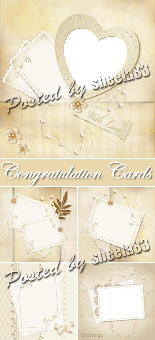 Beige Congratulation Cards Vector