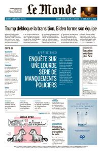 Le Monde du Mercredi 25 Novembre 2020