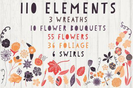 CreativeMarket - Floral Clipart & Pattern Bundle Set
