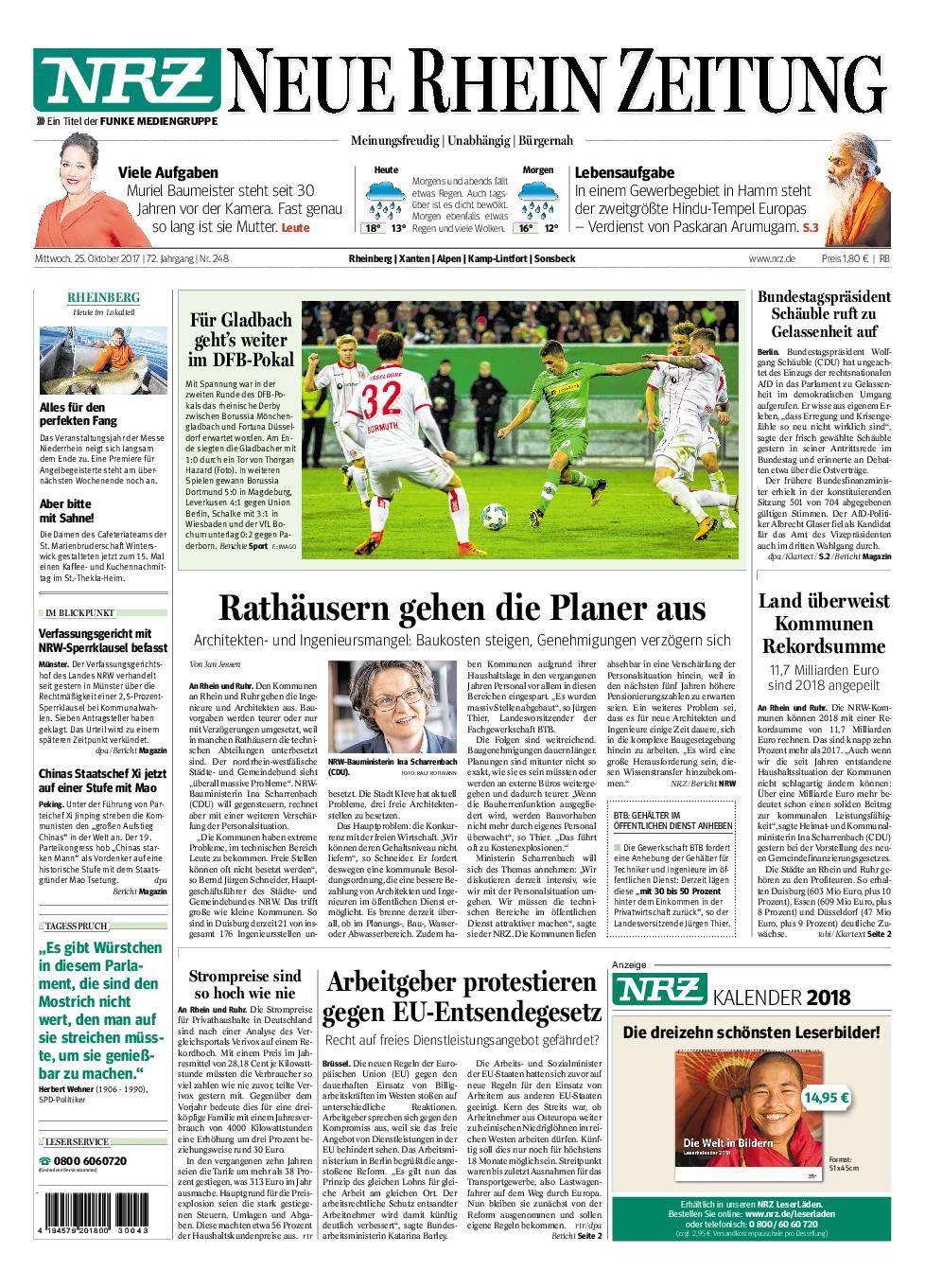 NRZ Neue Rhein Zeitung Rheinberg - 25. Oktober 2017