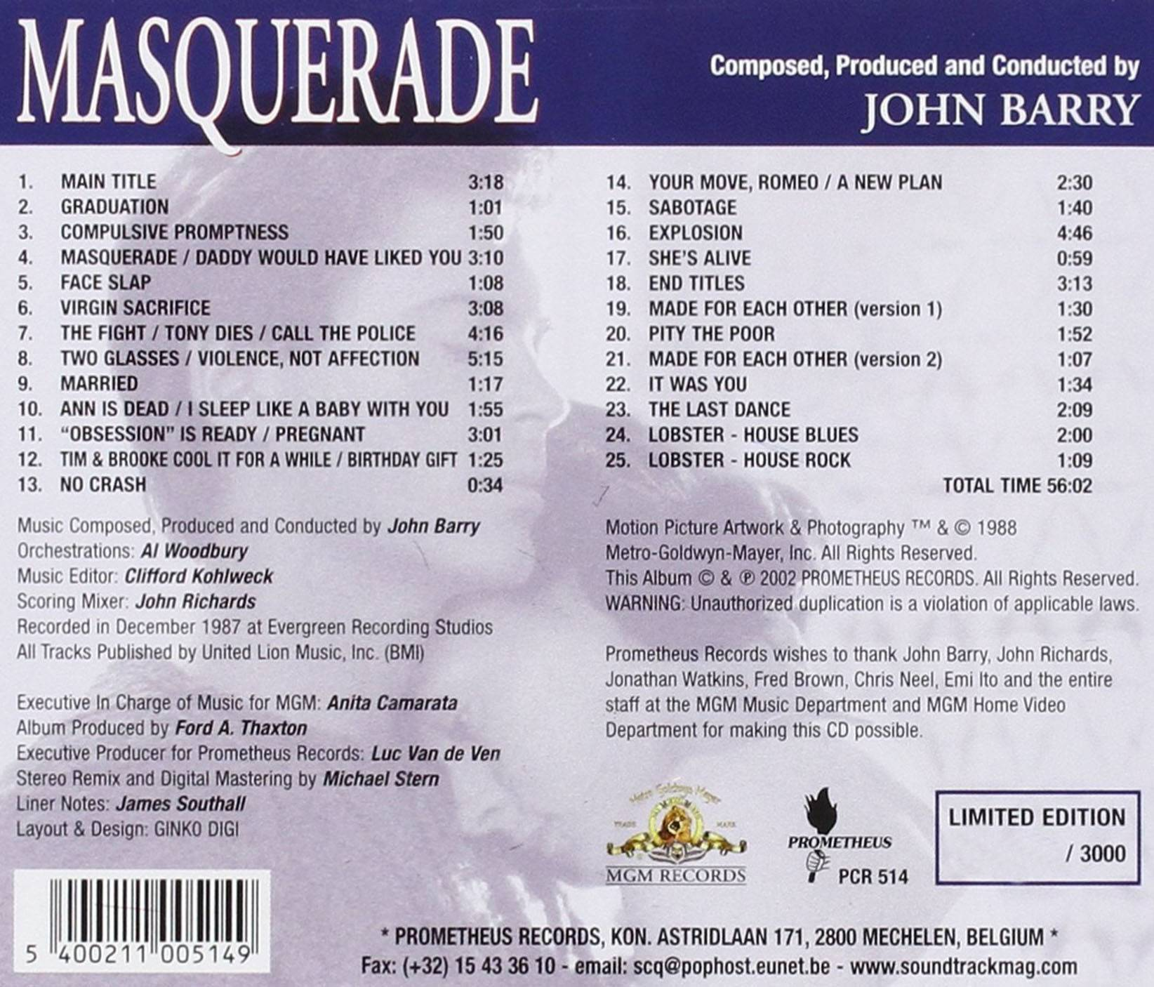 John Barry - Masquerade: Original MGM Motion Picture Soundtrack