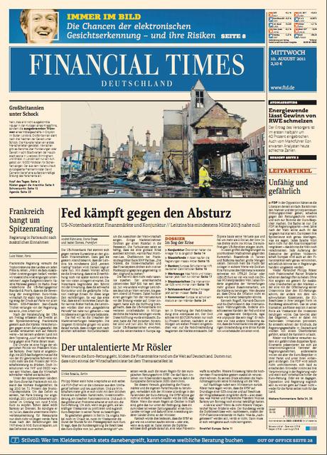 Financial Times Deutschland vom 10.08.2011