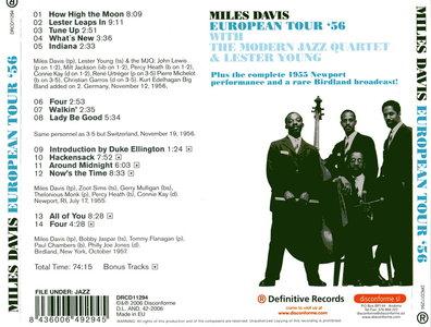 Miles Davis - European Tour '56 with The Modern Jazz Quartet & Lester Young (2006) {Definitive DRCD11294}