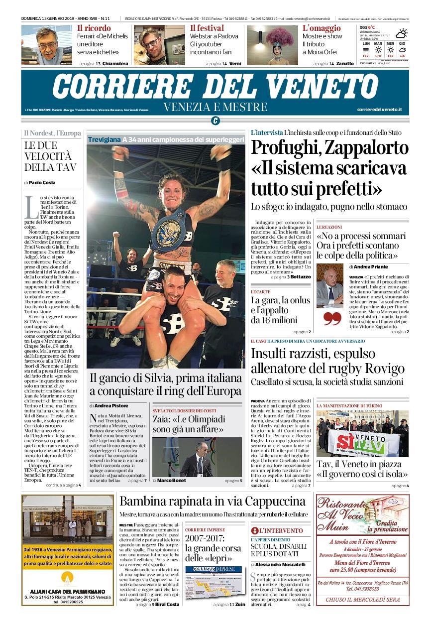 Corriere del Veneto Venezia e Mestre – 13 gennaio 2019
